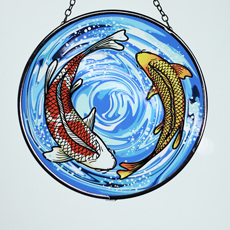 Fish Stained Glass Suncatcher - SC02306AF
